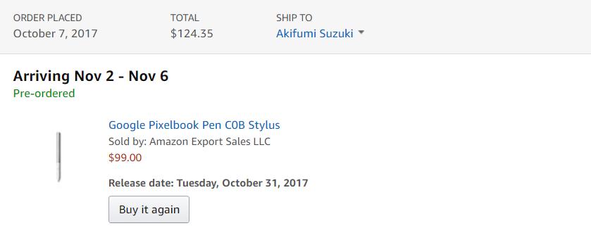 Pixelbook Penの到着予定日。