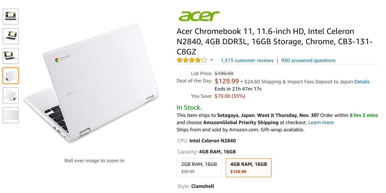 Amazon.com: Acer Chromebook 11, 11.6-inch HD, Intel Celeron N2840, 4GB DDR3L, 16GB Storage, Chrome, CB3-131-C8GZ: Computers & Accessories
