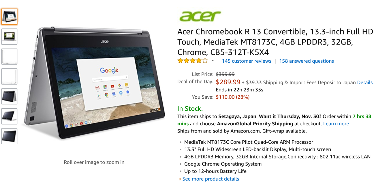 Amazon.com: Acer Chromebook R 13 Convertible, 13.3-inch Full HD Touch, MediaTek MT8173C, 4GB LPDDR3, 32GB, Chrome, CB5-312T-K5X4: Computers & Accessories