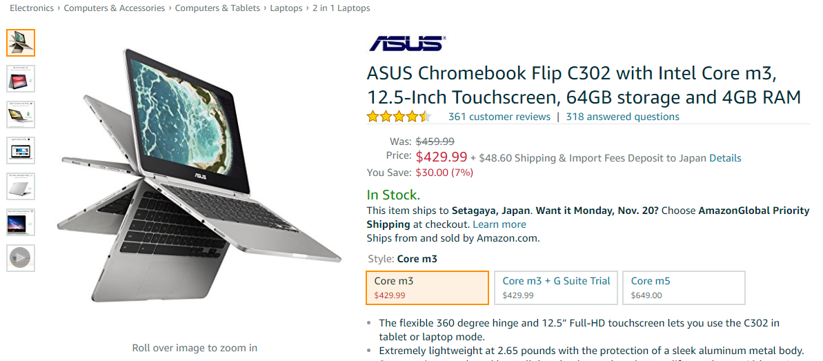 Amazon.com: ASUS Chromebook Flip C302 with Intel Core m3, 12.5-Inch Touchscreen, 64GB storage and 4GB RAM: Computers & Accessories