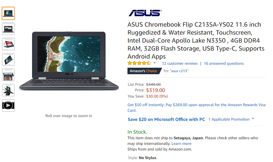 Amazon.com: ASUS Chromebook Flip C213SA-YS02 11.6 inch Ruggedized & Water Resistant, Touchscreen, Intel Dual-Core Apollo Lake N3350 , 4GB DDR4 RAM, 32GB Flash Storage, USB Type-C, Supports Android Apps: Computers & Accessories