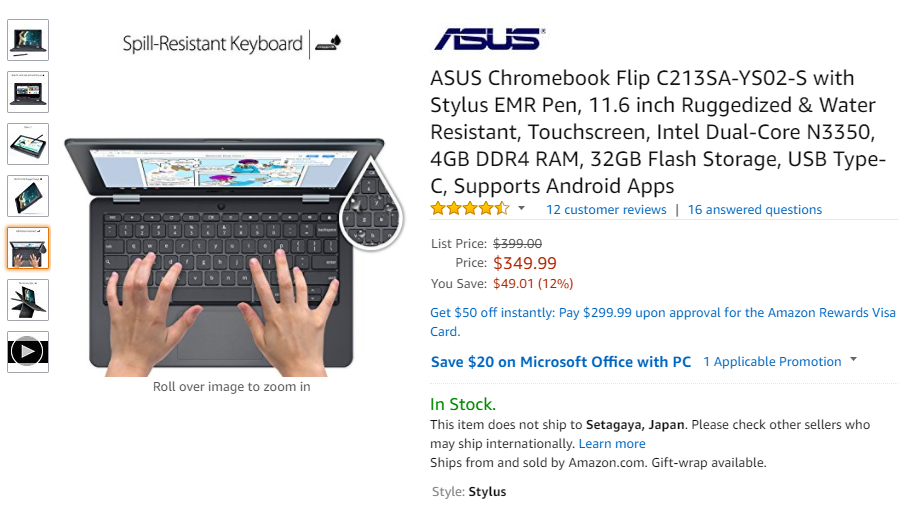 Amazon.com: ASUS Chromebook Flip C213SA-YS02-S with Stylus EMR Pen, 11.6 inch Ruggedized & Water Resistant, Touchscreen, Intel Dual-Core N3350, 4GB DDR4 RAM, 32GB Flash Storage, USB Type-C, Supports Android Apps: Computers & Accessories