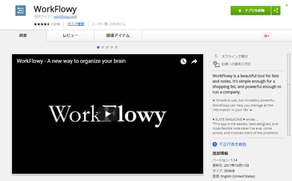 Chromeアプリ版WorkFlowy
