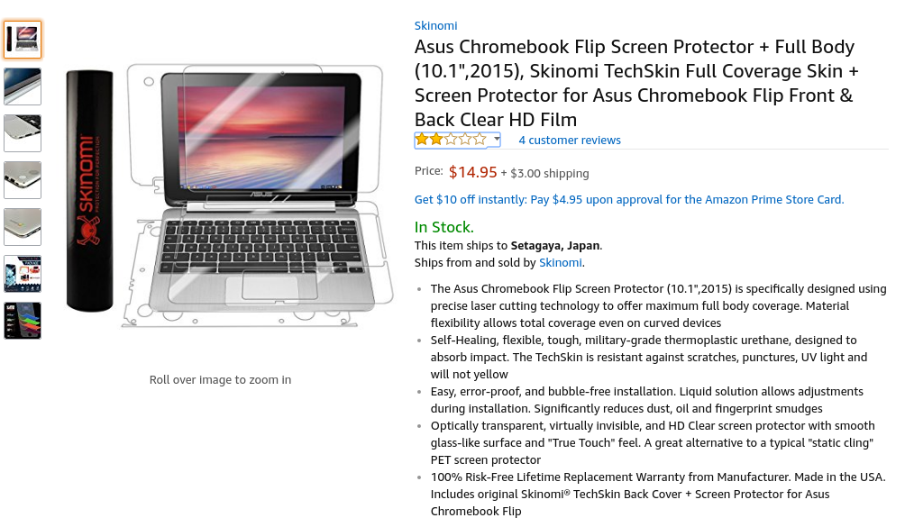 "Amazon.com: Asus Chromebook Flip Screen Protector + Full Body (10.1"",2015), Skinomi TechSkin Full Coverage Skin + Screen Protector for Asus Chromebook Flip Front & Back Clear HD Film: Computers & Accessories"