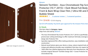 "Amazon.com: Skinomi TechSkin - Asus Chromebook Flip Screen Protector (10.1"",2015) + Dark Wood Full Body Skin / Front & Back Wrap Clear Film / Ultra HD and Anti-Bubble Shield: Computers & Accessories"