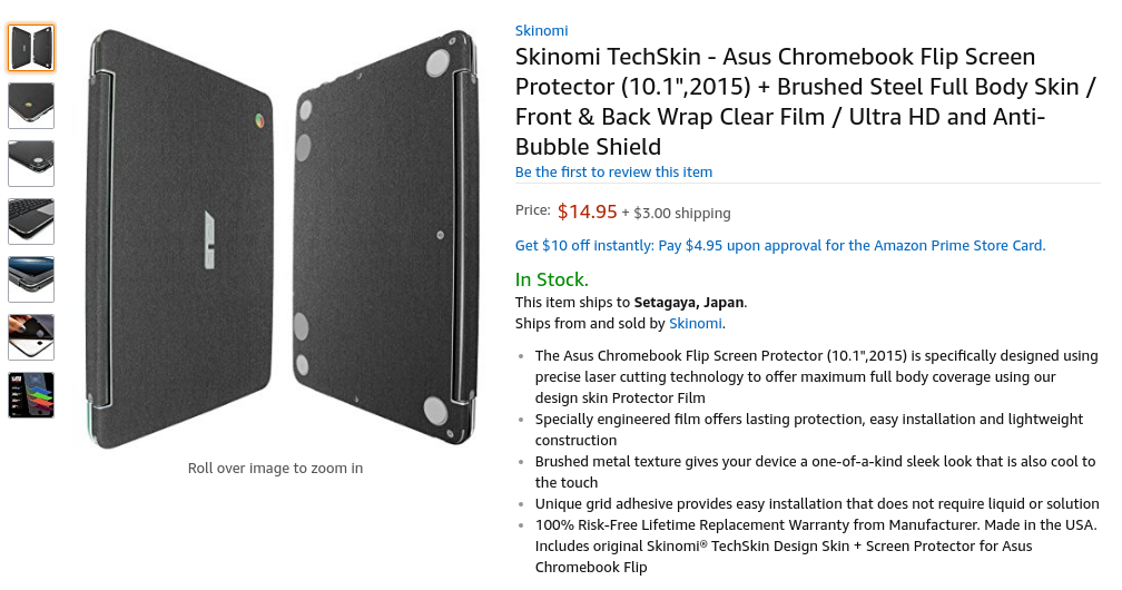 "Amazon.com: Skinomi TechSkin - Asus Chromebook Flip Screen Protector (10.1"",2015) + Brushed Steel Full Body Skin / Front & Back Wrap Clear Film / Ultra HD and Anti-Bubble Shield: Computers & Accessories"