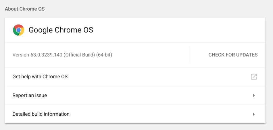 Chrome OS Check for Updates