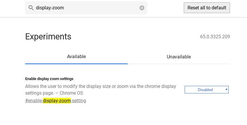 Enable display zoom settings