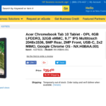 Acer Chromebook Tab 10 Tablet - OPI, 4GB LPDDR3, 32GB eMMC, 9.7 IPS Multitouch 2048x1536, 5MP Rear, 2MP Front, USB-C, 2x2 MIMO, Google Chrome OS - NX.H0BAA.001 at TigerDirect.com