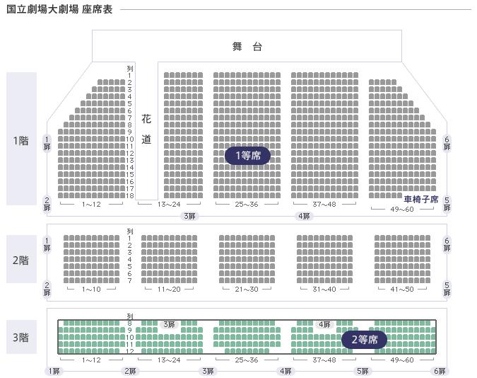 国立劇場大劇場 座席表(PDF)