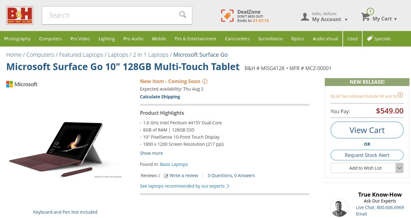 [かぶ] Microsoft Surface Go 8GB/128GB版が米B&HでPre Order受付中(日本直送可)。