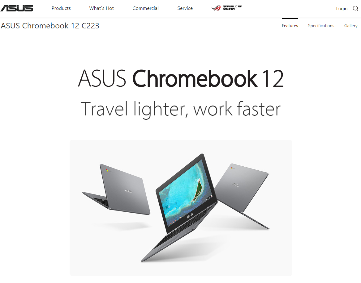 [かぶ] Travel lighter , work faster. ASUSの新モデル Chromebook 12 C223がASUS USサイトに登場。