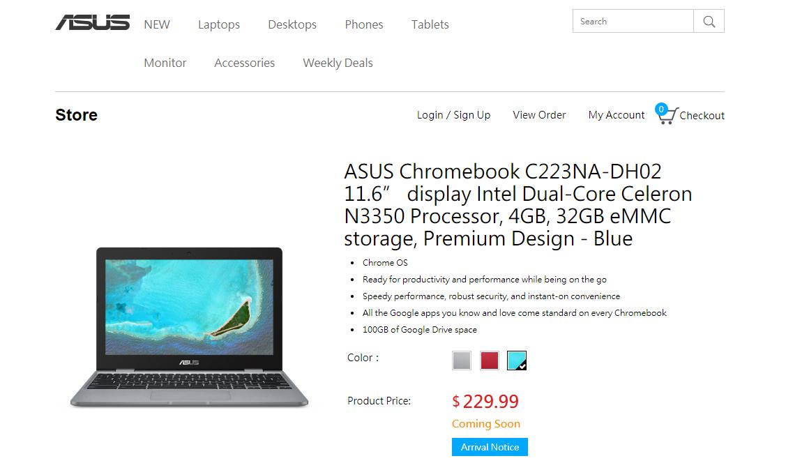 """[かぶ] ASUS STORE USAのASUS Chromebook 12 C223NA。""""Premium Design""""のRedに続き、新たにBlueが登場か。"""