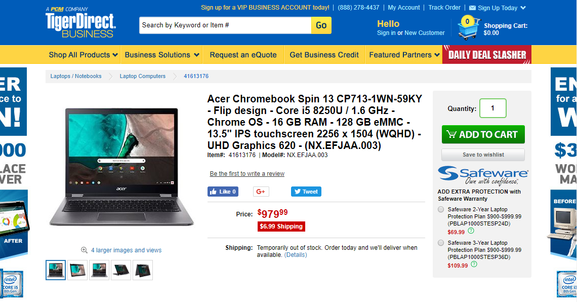 [かぶ] 待望のAcer Chromebook Spin 13(CP713)最上位モデルが遂に「あの」TigerDirect BUSINESSで「Temporarily out of stock.」