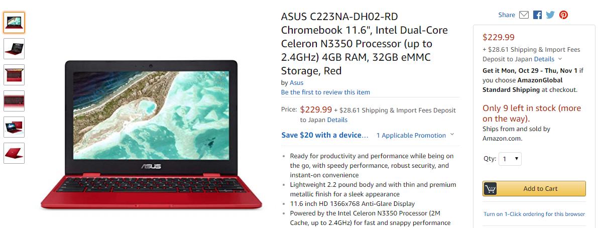 [かぶ] ASUS Chromebook 12 C223NAの新色、赤が米Amazonに登場。日本直送可で$229.99。