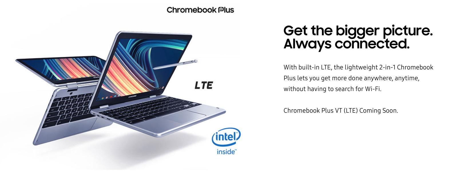 [かぶ] Always Connected. Samsung Chromebook Plus V2にLTEモデルが登場。11月2日より発売。