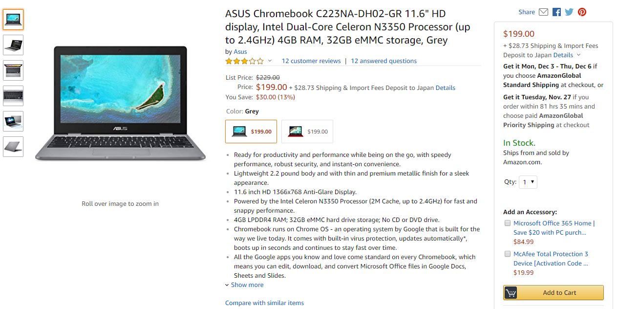 [かぶ] Black Fridayを前にASUS Chromebookの新モデル、C223NAとC423NAがそれぞれ$30オフで販売中。