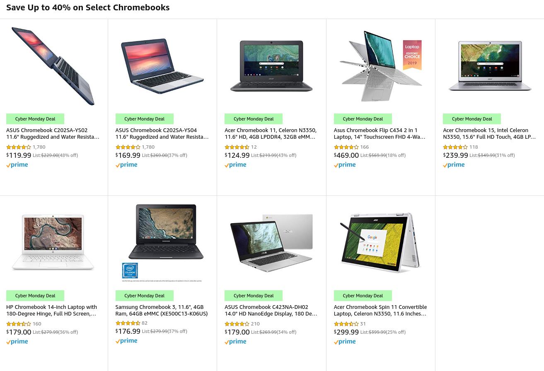 [かぶ] 米AmazonでCyber Monday始まる。Chromebookは今回は9モデルがDeal対象に。(12/3 17:00 終了しました)
