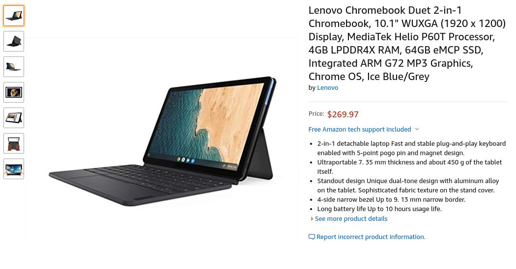 [かぶ] lenovo IdeaPad Duet Chromebookが米Amazonに登場。日本直送可で1〜3ヶ月で発送。(追記:既にCurrently unavailable.に。)